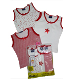 Kidde Girls 3-pc Singlet Set -Red/White