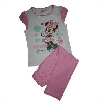 Minnie Mouse 2-pc Short Top/Long Pants Pj Set - White/Pink